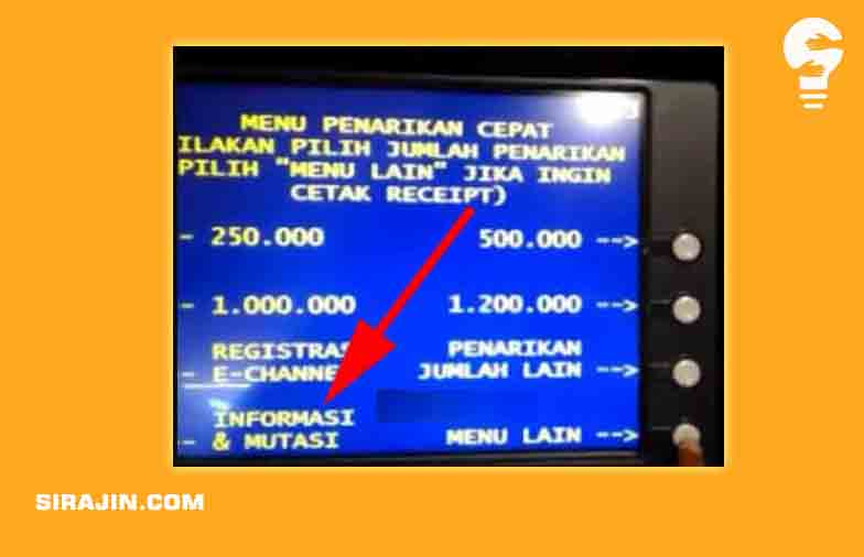 Cara Cek MUTASI BNI lewat Mesin ATM