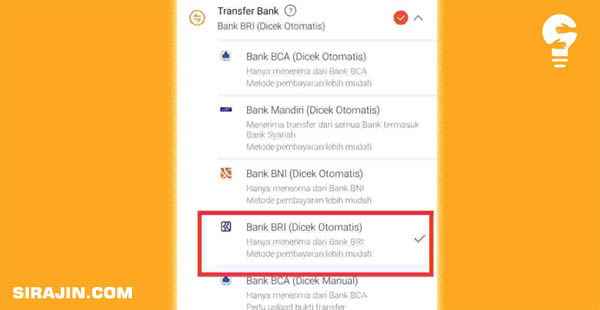 Pembayaran Shopee Lewat Bank BRI (dicek otomatis)