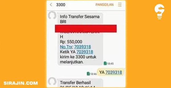 Transfer Sesama Bank BRI lewat SMS Banking