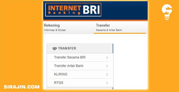 Transfer sesama bank bri dengan internet banking