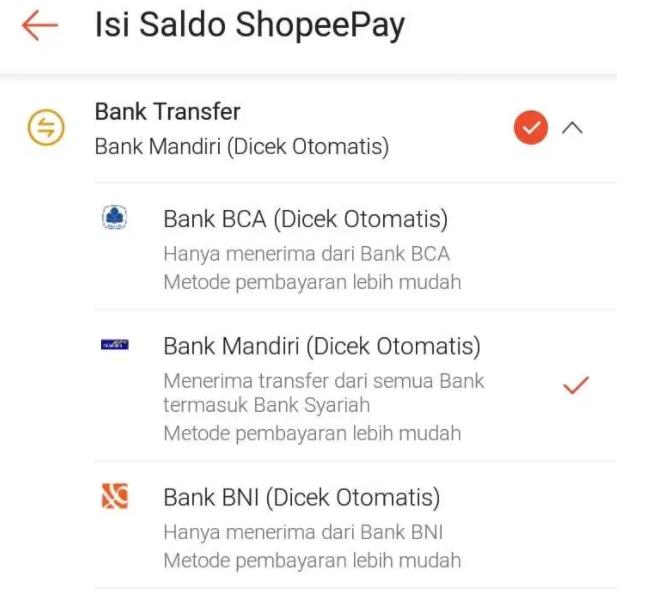 Pilih Virtual Account ShopeePay Anda